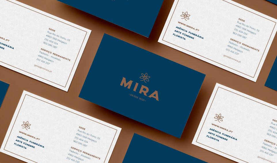Cartões de visita da Funerária Mira
