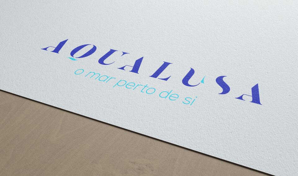 Logotipo Aqualusa aplicado em papel de carta