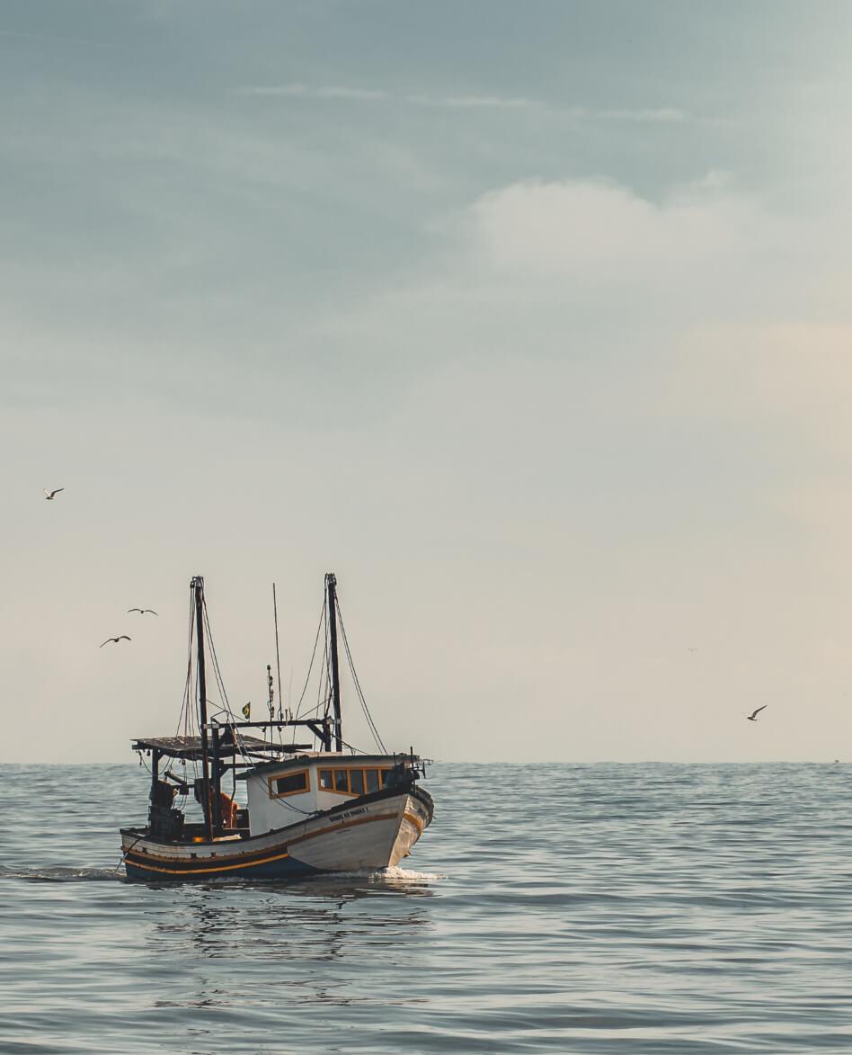 Barco de pesca em alto mar