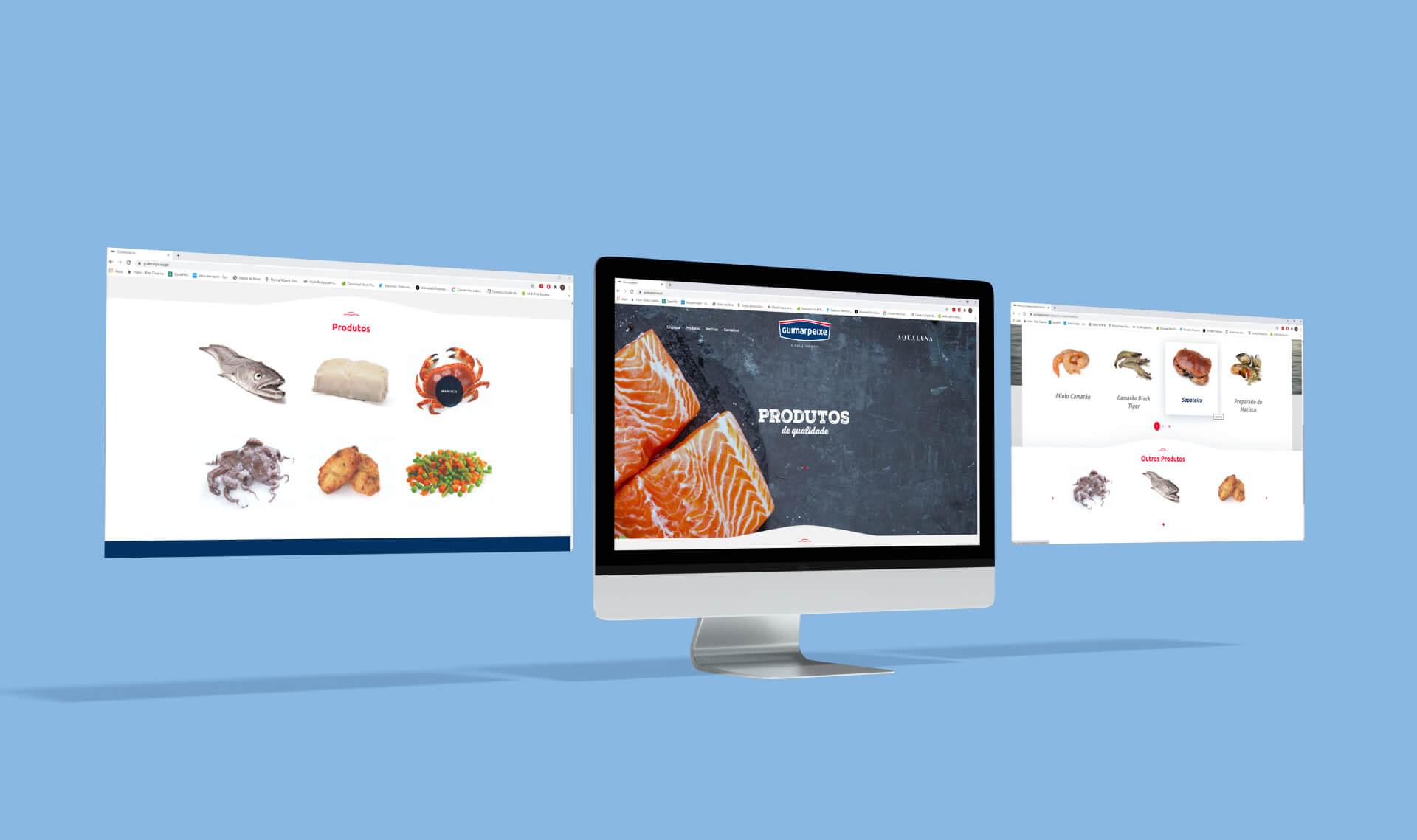 Páginas do website da Guimarpeixe