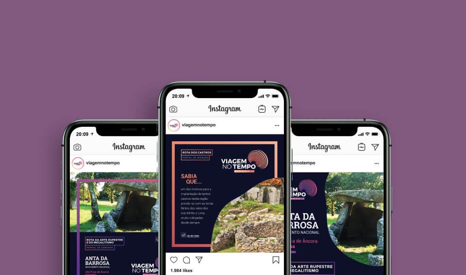 Smartphones com Instagram Viagem no Tempo