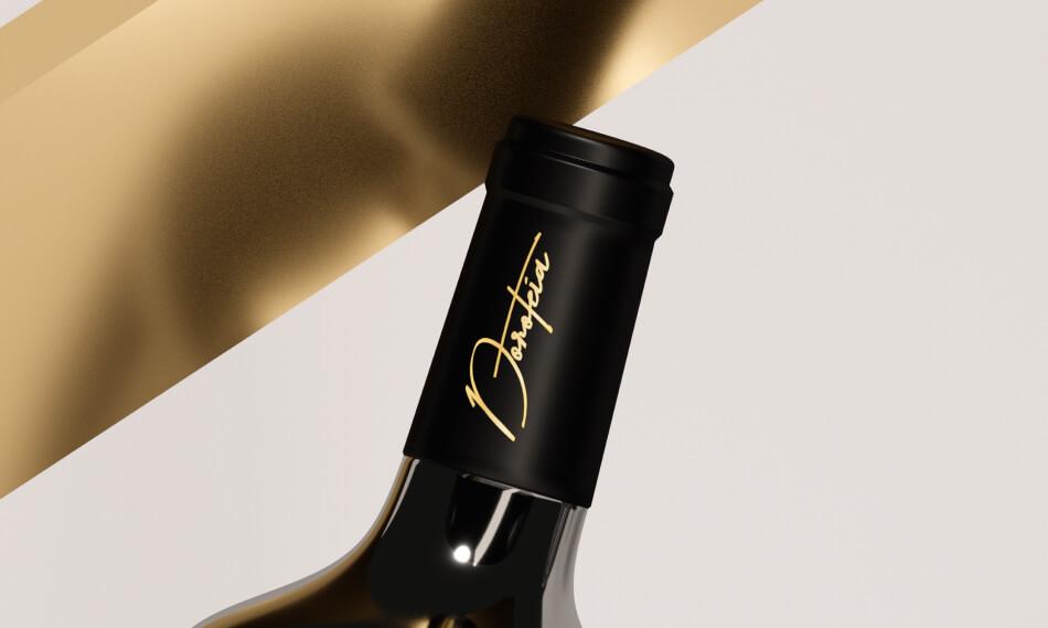 Pormenor da cápsula da garrafa de vinho Doroteia