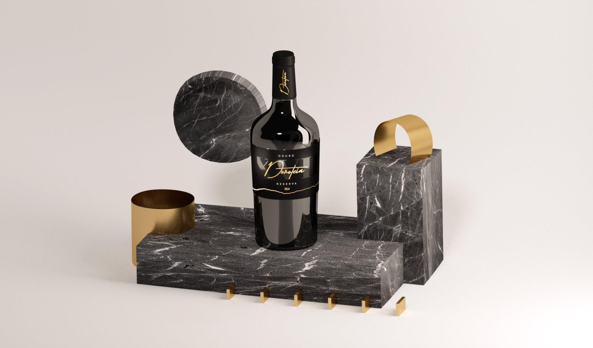 Garrafa de vinho Doroteia sobre uma pedra de mármore