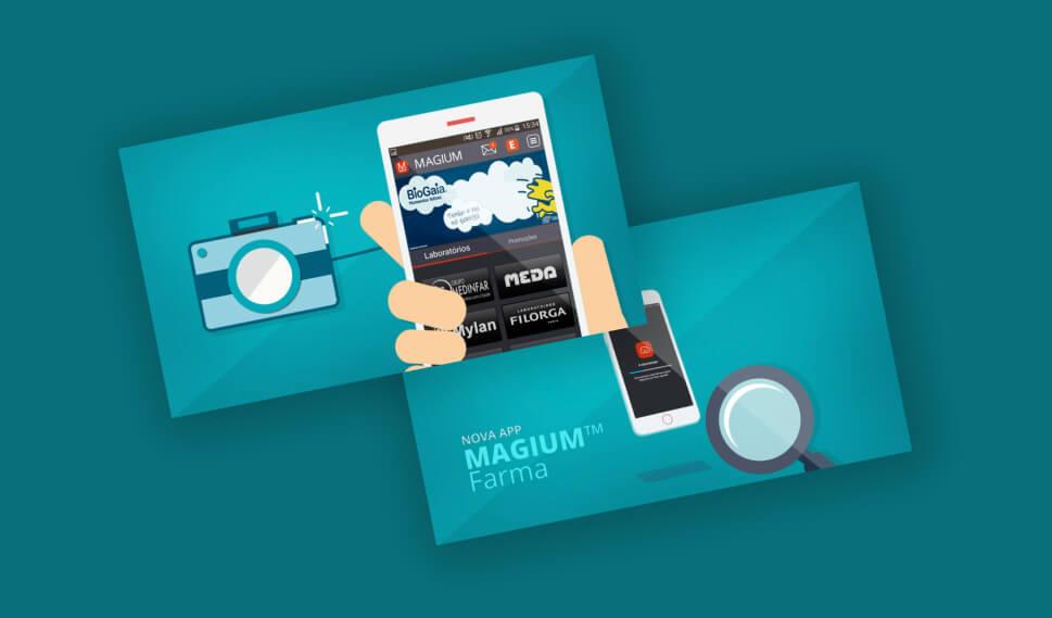 Mockup da app Magium em smartphone
