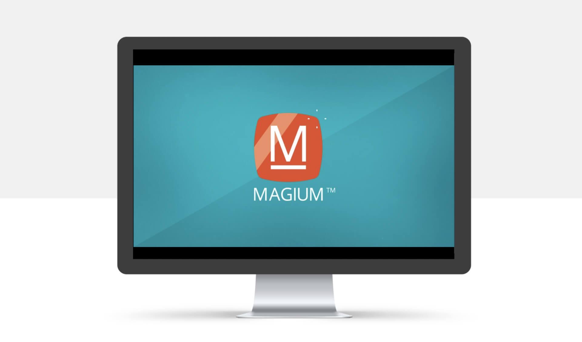 Mockup do logo Magium em desktop