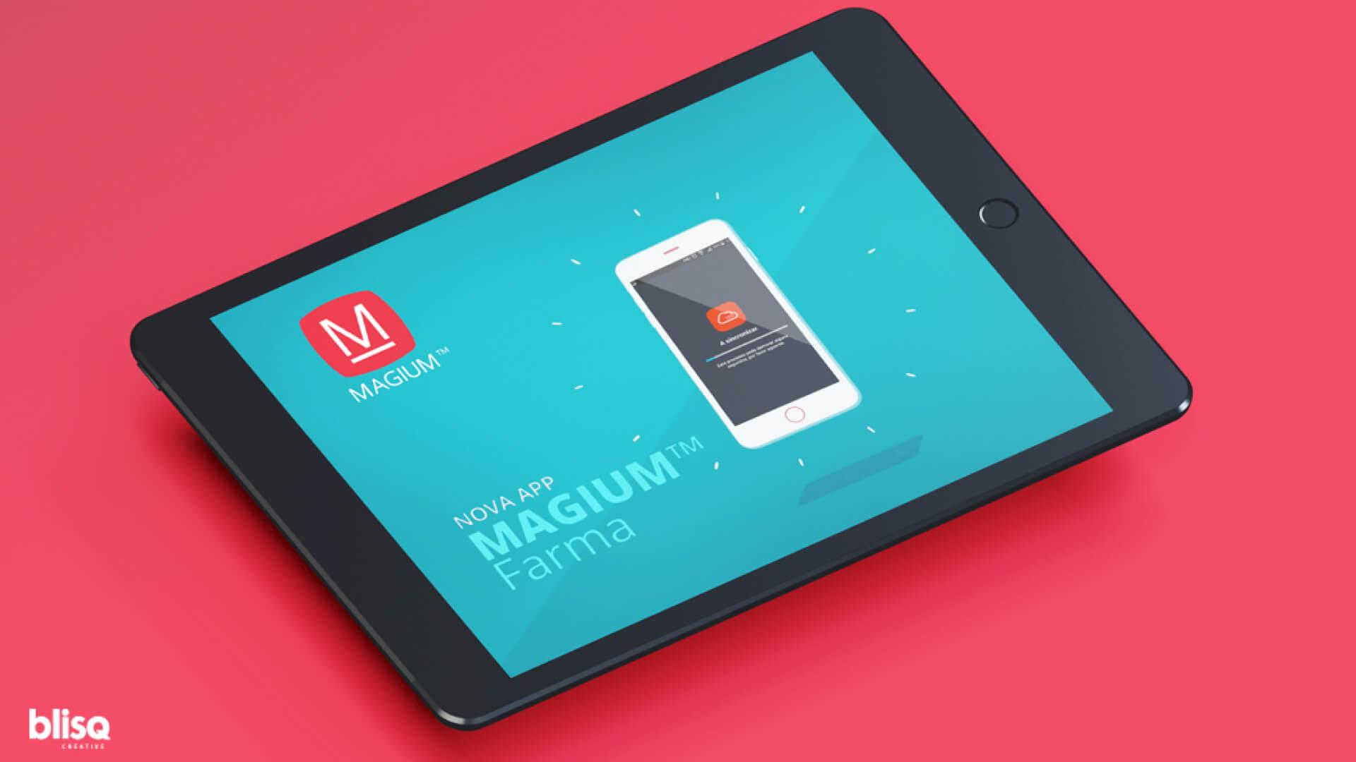 Mockup da app Magium Farma em Tablet