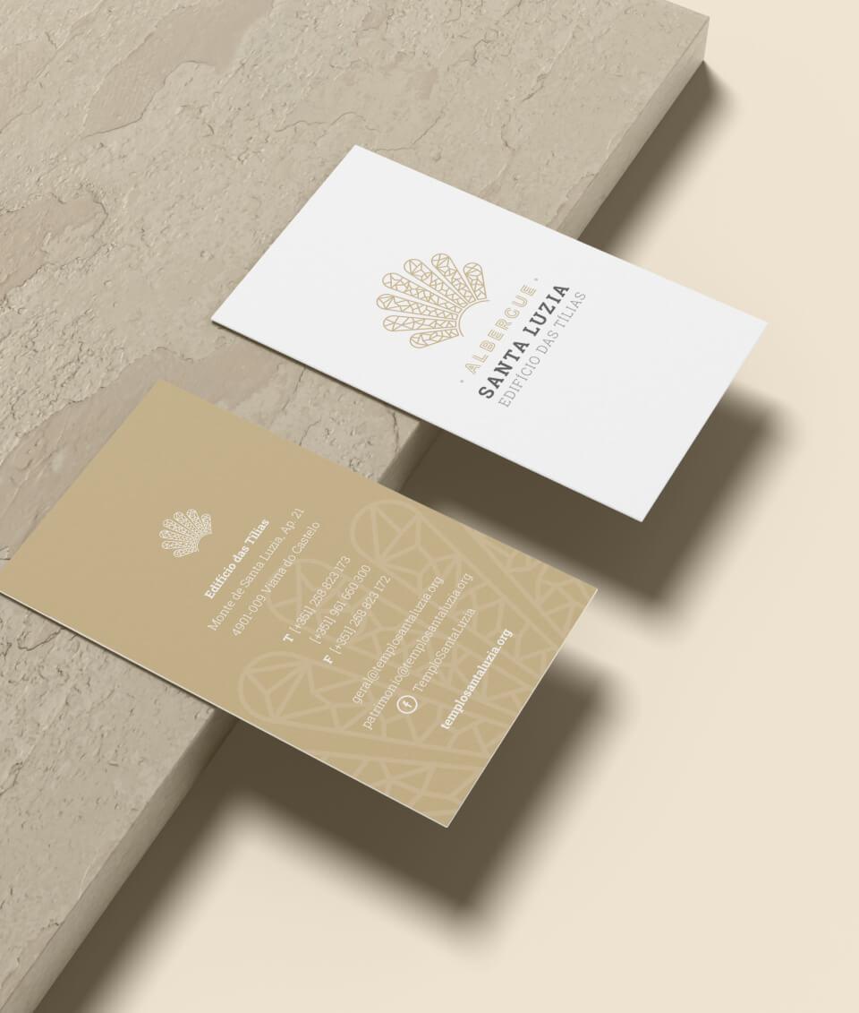 Cartões de visita do Albergue de Santa Luzia