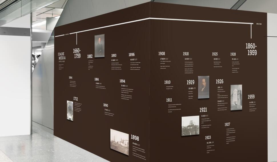 Parede da exposição do Museu de Santa Luzia no Edifício das Tílias