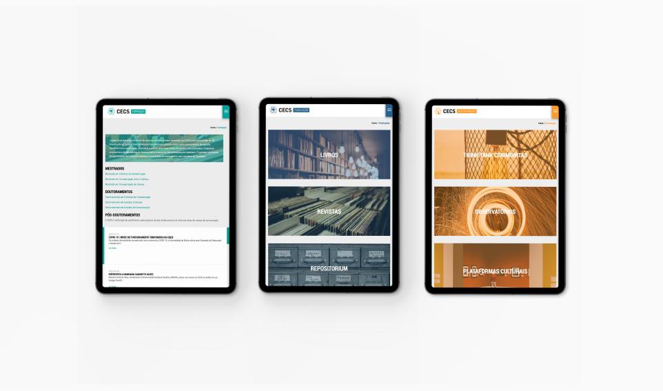 Mockup website do CECS em tablet