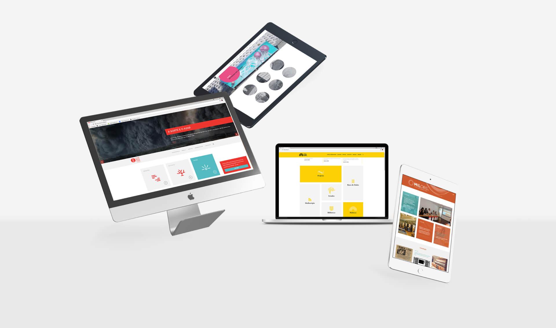Mockup de websites da Universidade do Minho