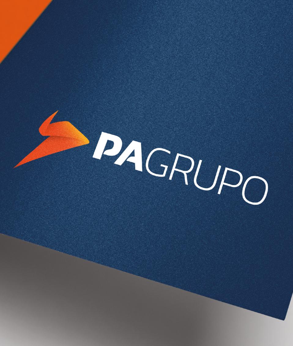 Aplicação de logo PA Grupo em papel