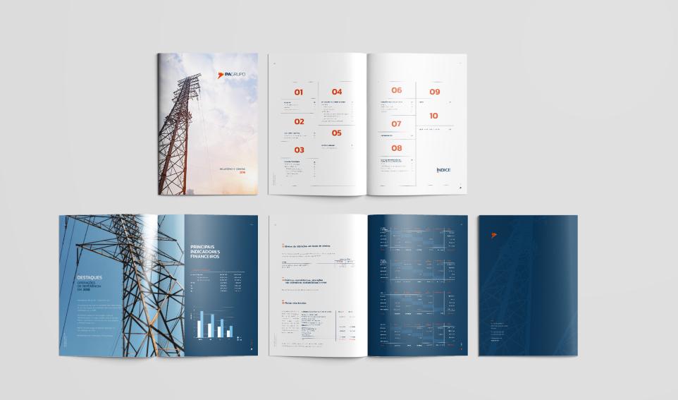 Páginas de relatório de contas com indicadores e gráficos financeiros