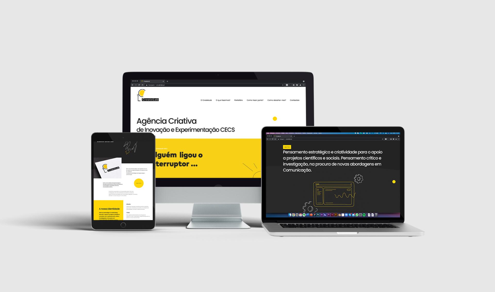 Website responsivo Create Labs em vários dispositivos