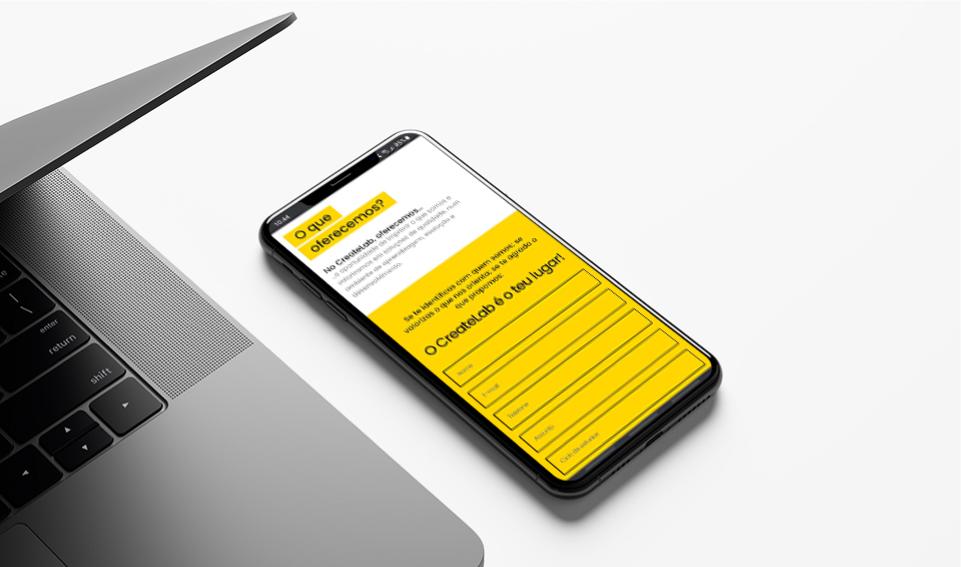 Website Create Lab em dispositivo móvel