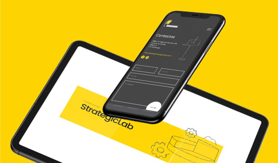 Website responsivo Create Labs em tablet e telemóvel