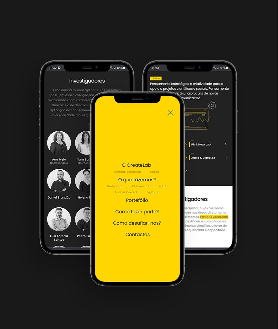 Páginas do website Create Labs em telemóvel