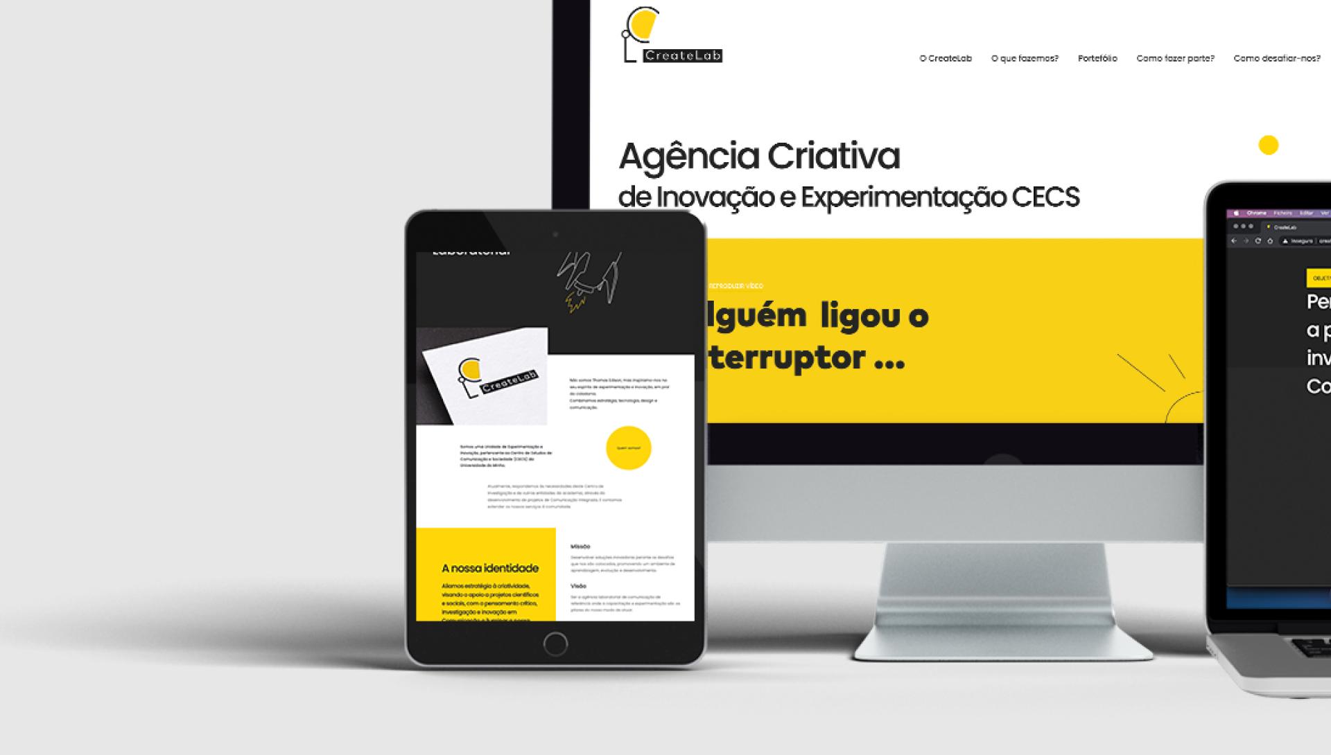 Páginas do website Create Labs em telemóvel, computador e tablet