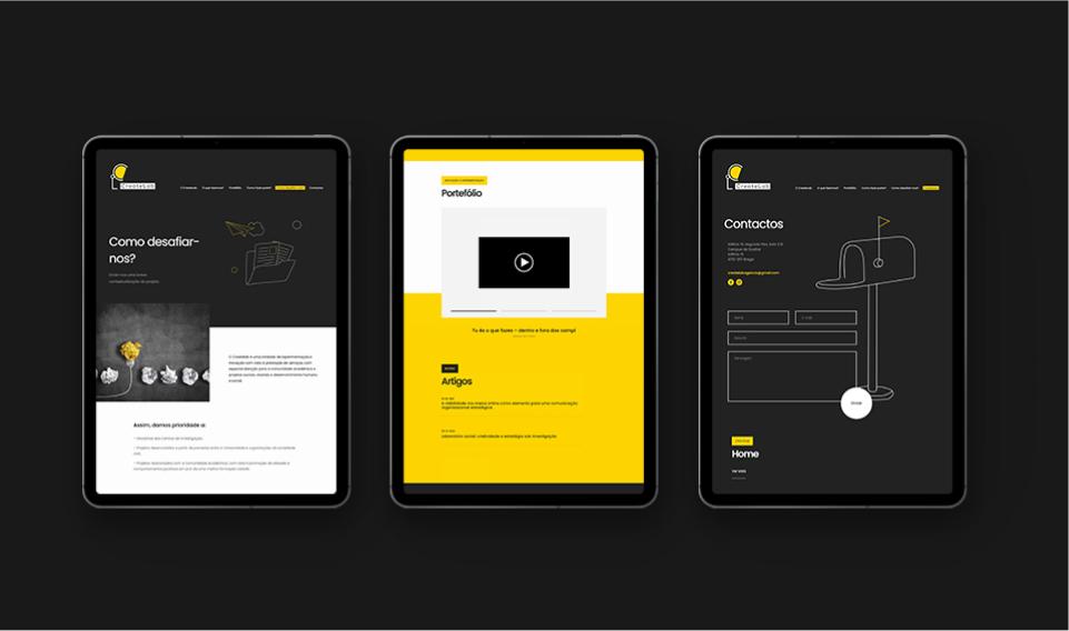 Páginas de website Create Lab em tablet