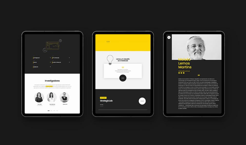 Várias páginas do website Create Lab em tablet