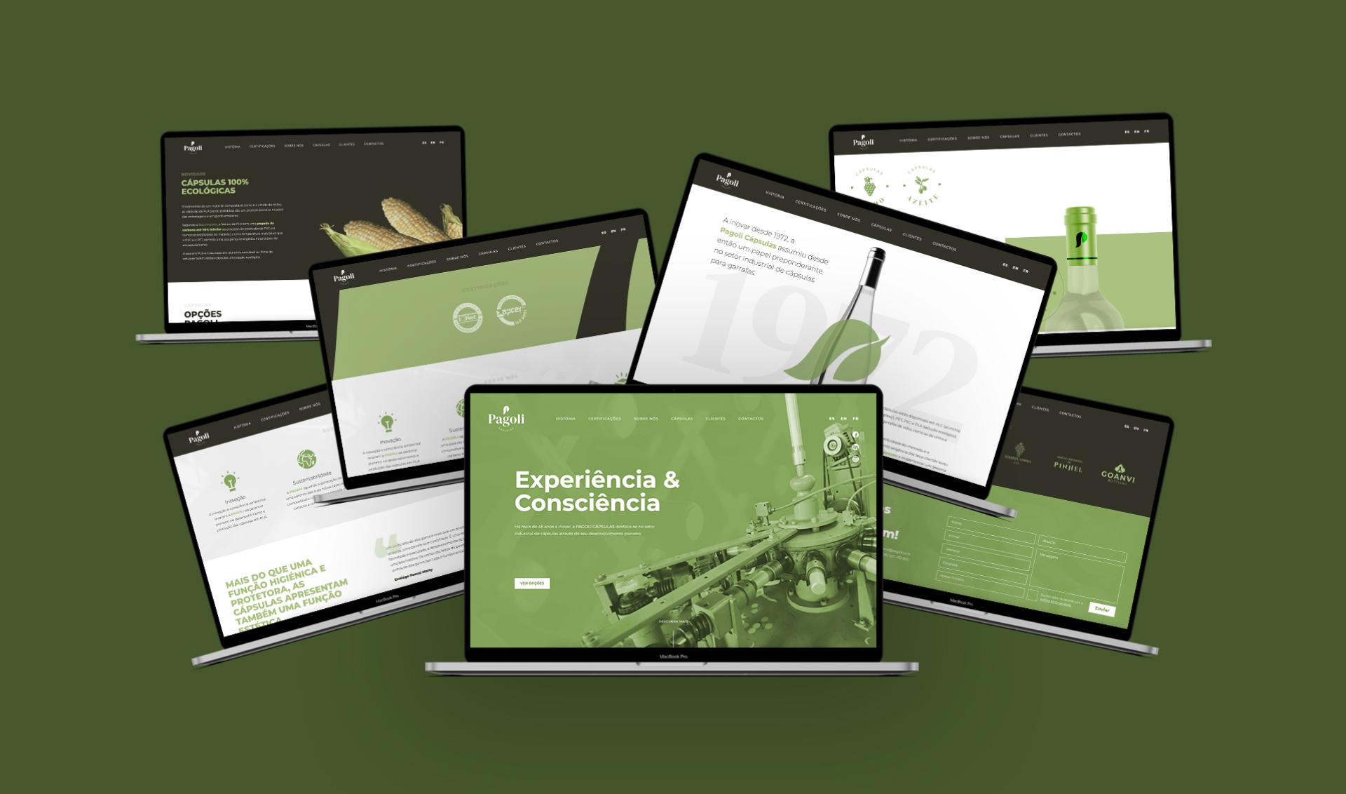 Várias páginas de website Pagoli em computador portátil