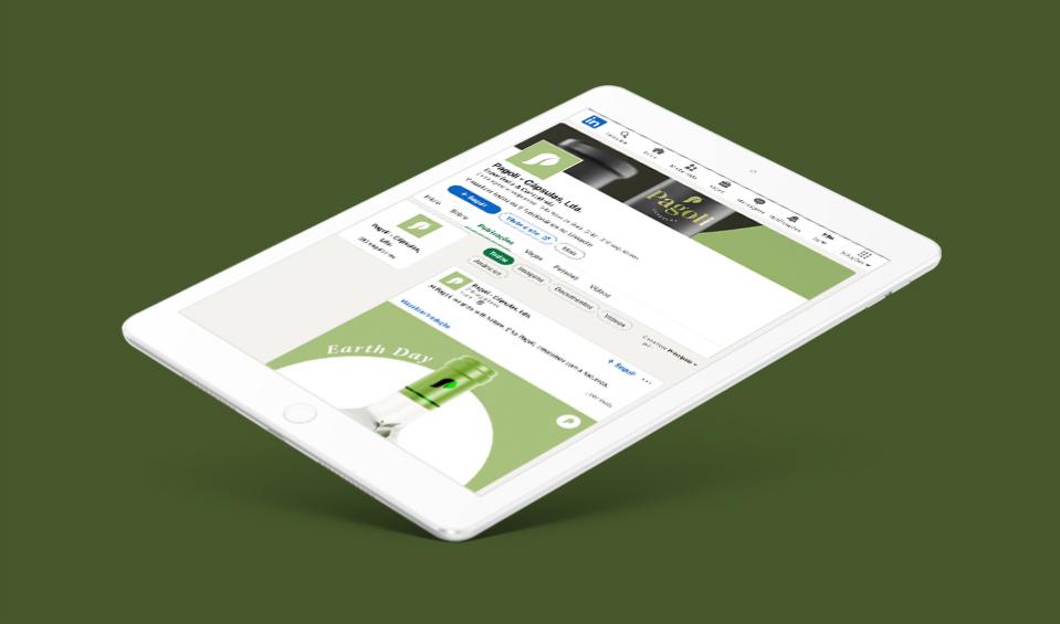 Página de linkedin Pagoli em tablet