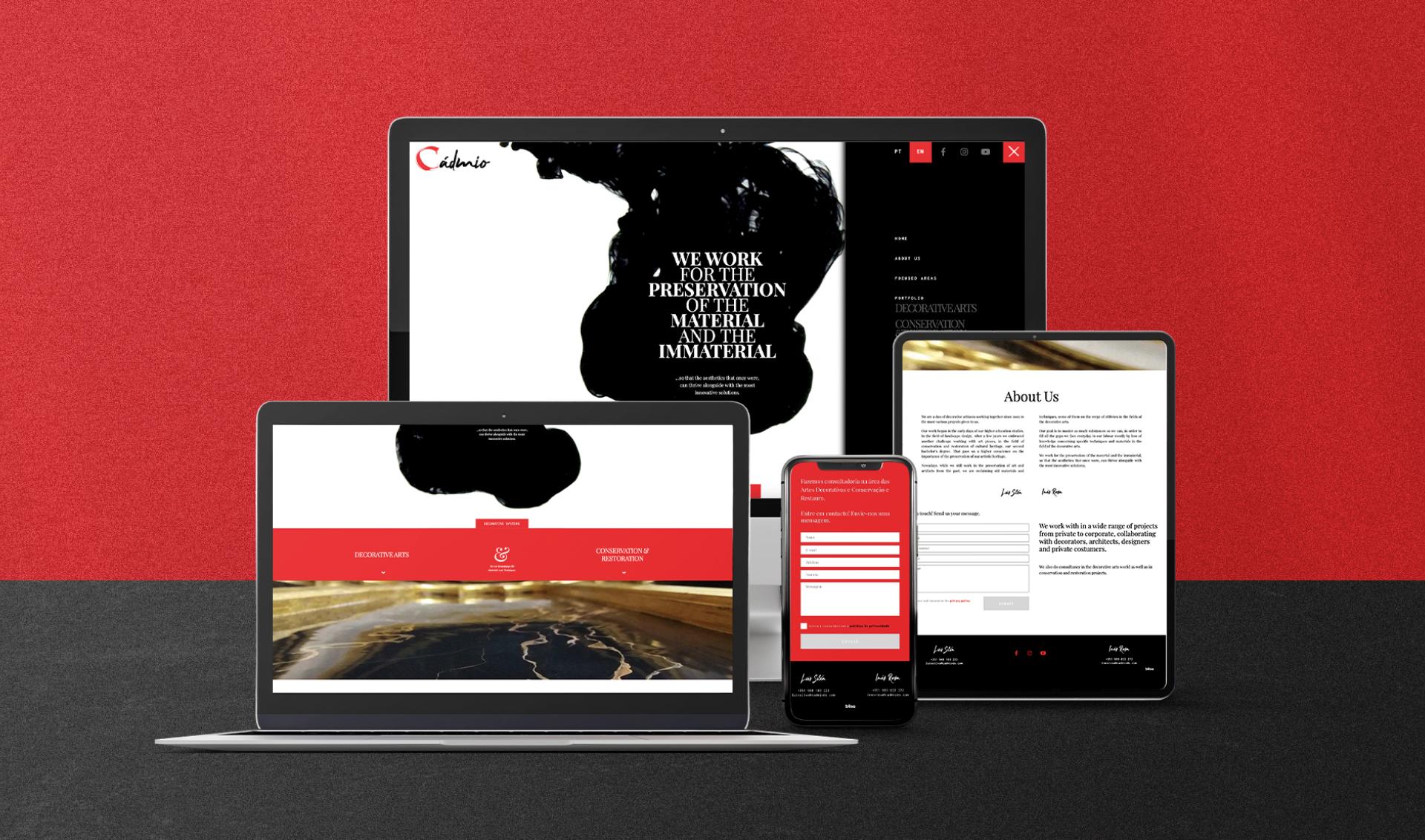 Website Cadmio Decorative Systems em vários dispositivos