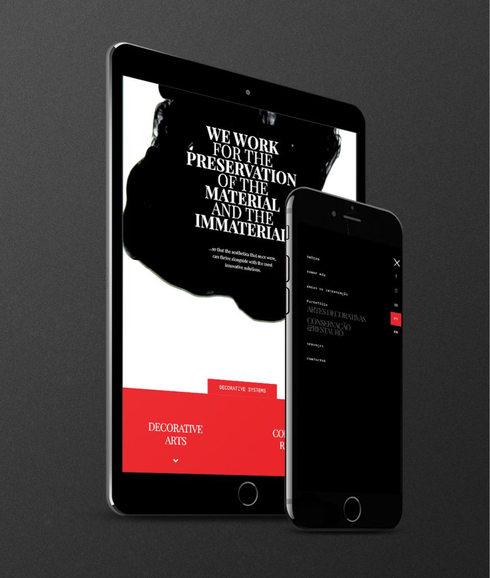 Páginas do website multi-lingua Cadmio Decorative Systems em telemóvel e tablet