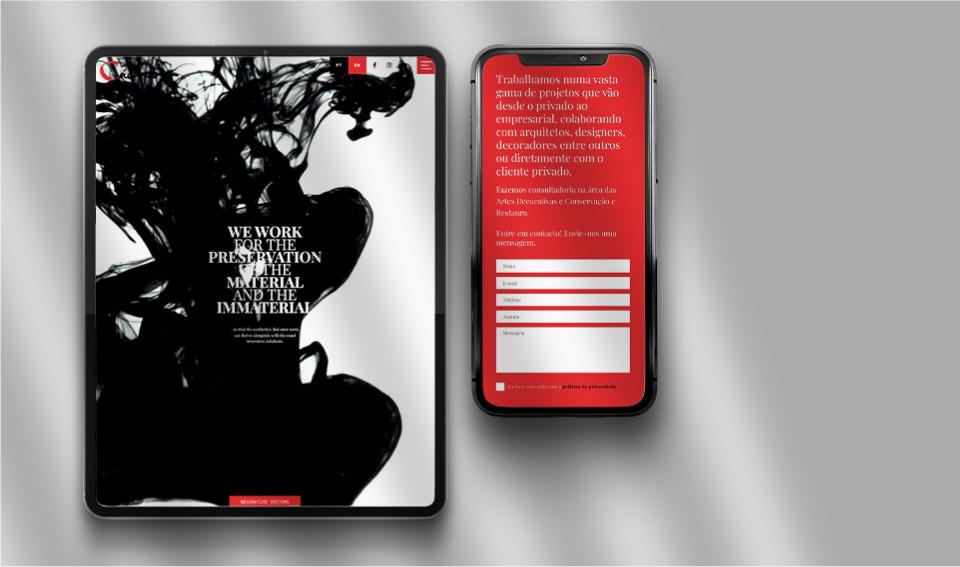 Página do website Cadmio Decorative Systems em telemóvel e tablet
