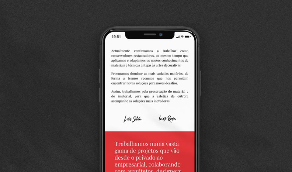 Página do website multi-lingua Cadmio Decorative Systems em telemóvel