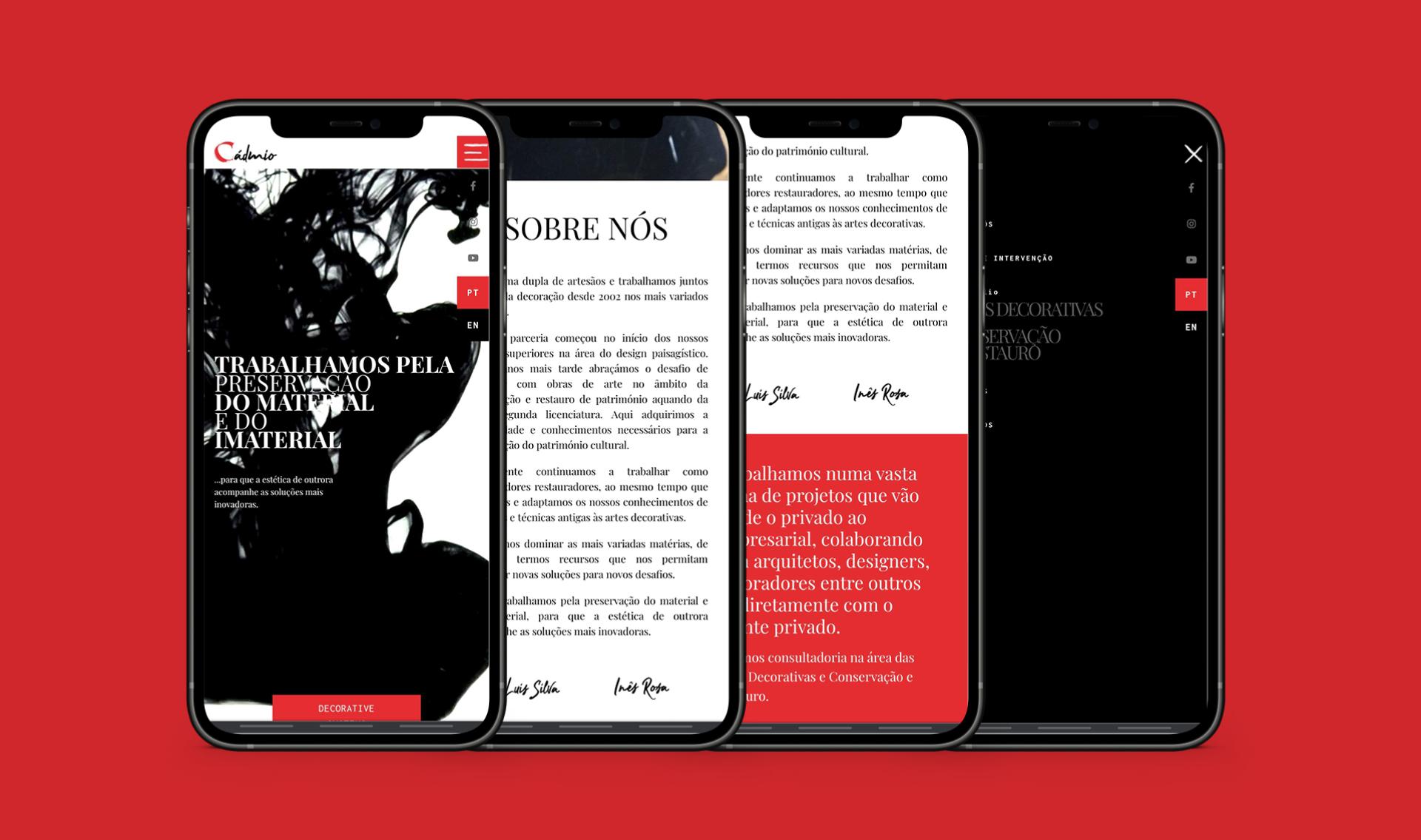 Páginas do website multi-lingua Cadmio Decorative Systems em telemóvel