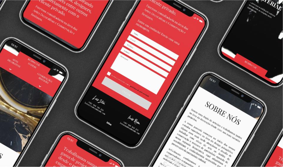 Páginas do website Cadmio Decorative Systems em telemóvel