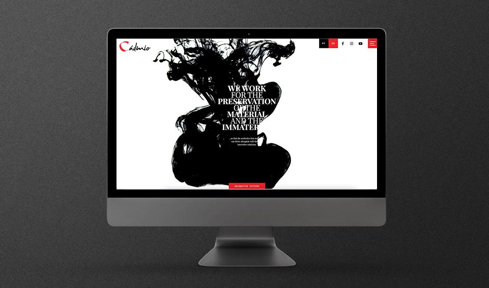 Website multi-lingua Cadmio Decorative Systems em computador
