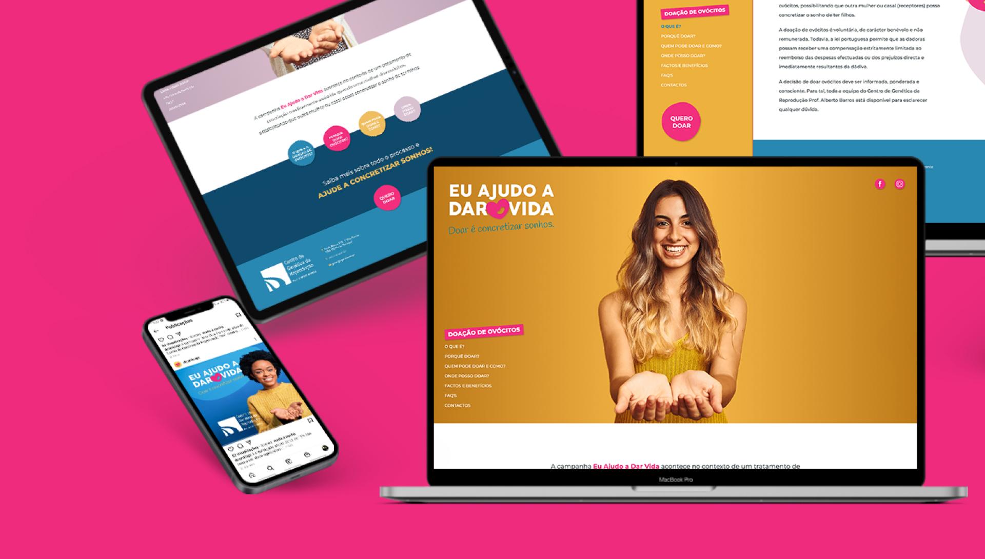 Website Doar Vida em tablet, telemóvel e computador portátil