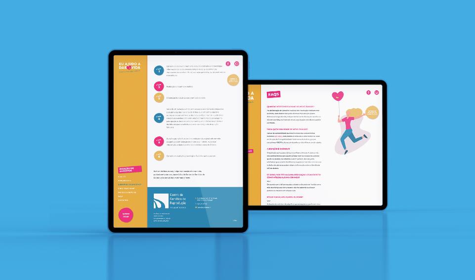 Website Doar Vida em tablet