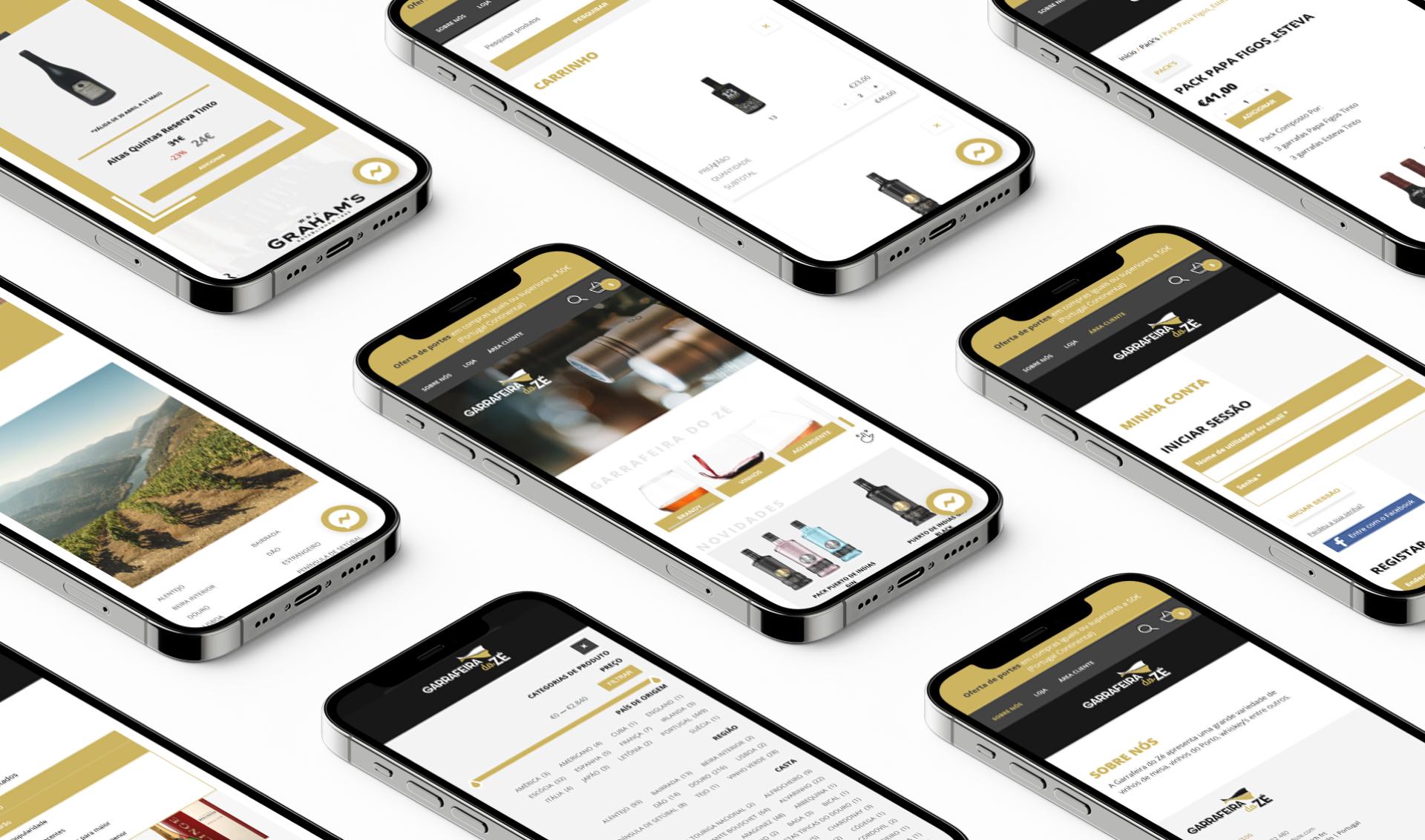 Páginas da loja online Garrafeira do Zé em telemóvel