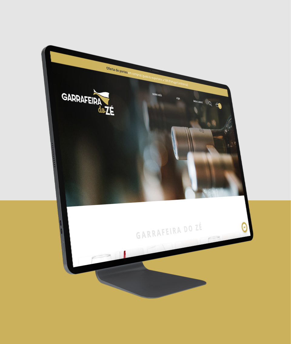 Loja online Garrafeira do Zé em computador