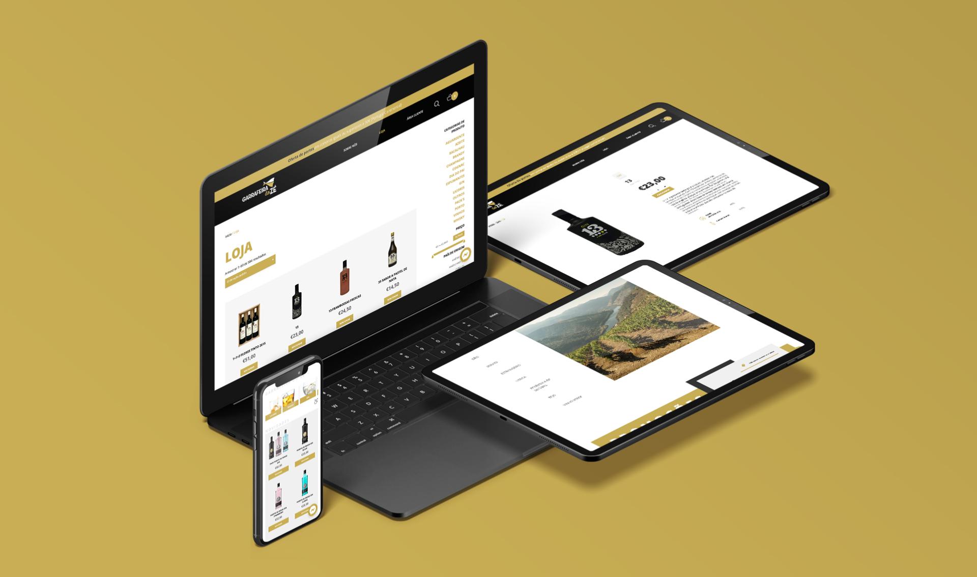 Loja online Garrafeira do Zé em vários dispositivos