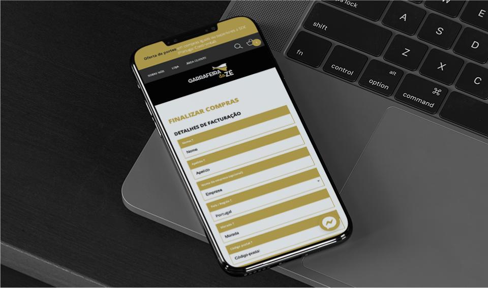 Página de finalizar compra do website Garrafeira do Zé em telemóvel