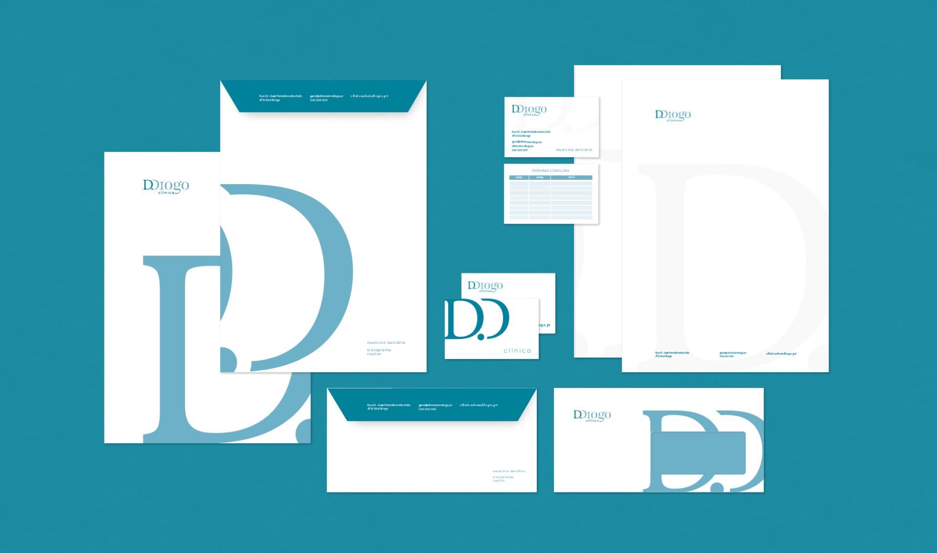 Estacionário da Clínica D. Diogo com envelopes, papel de carta, cartão de visita e cartão de marcação de consulta