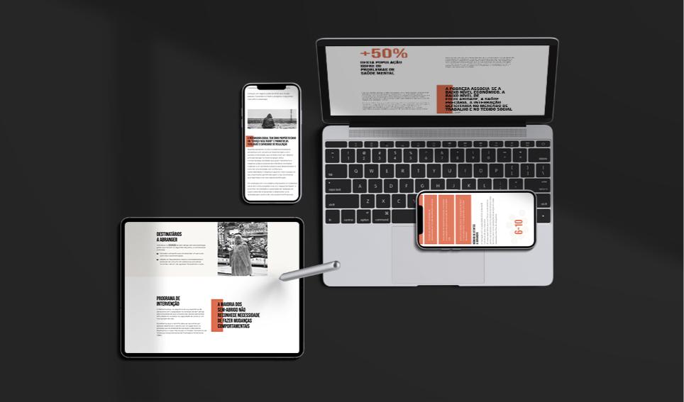 Website Methamorphys em telemóvel, tablet e computador portátil