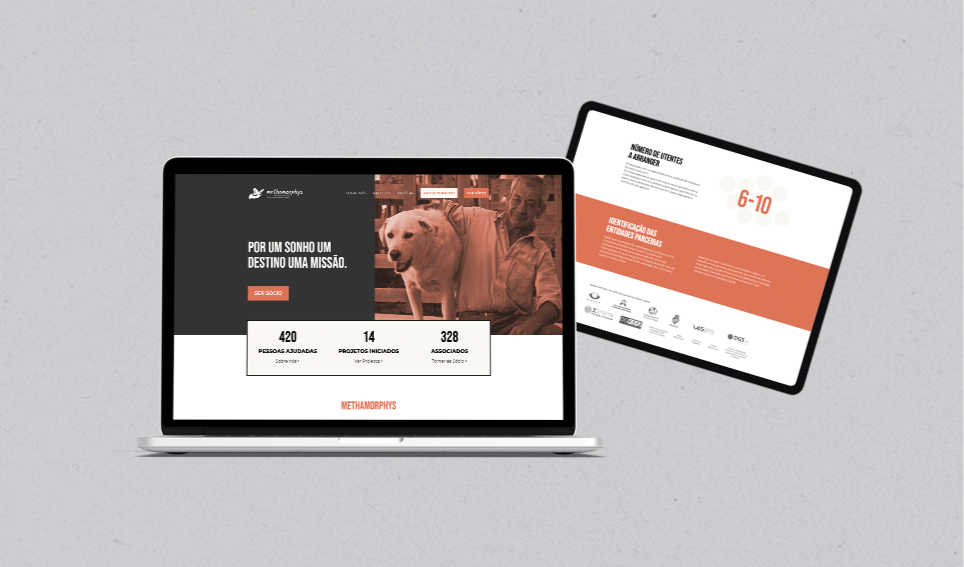 Website Methamorphys em computador portátil e tablet