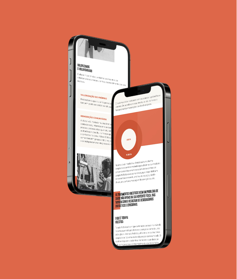 Website Methamorphys em telemóvel