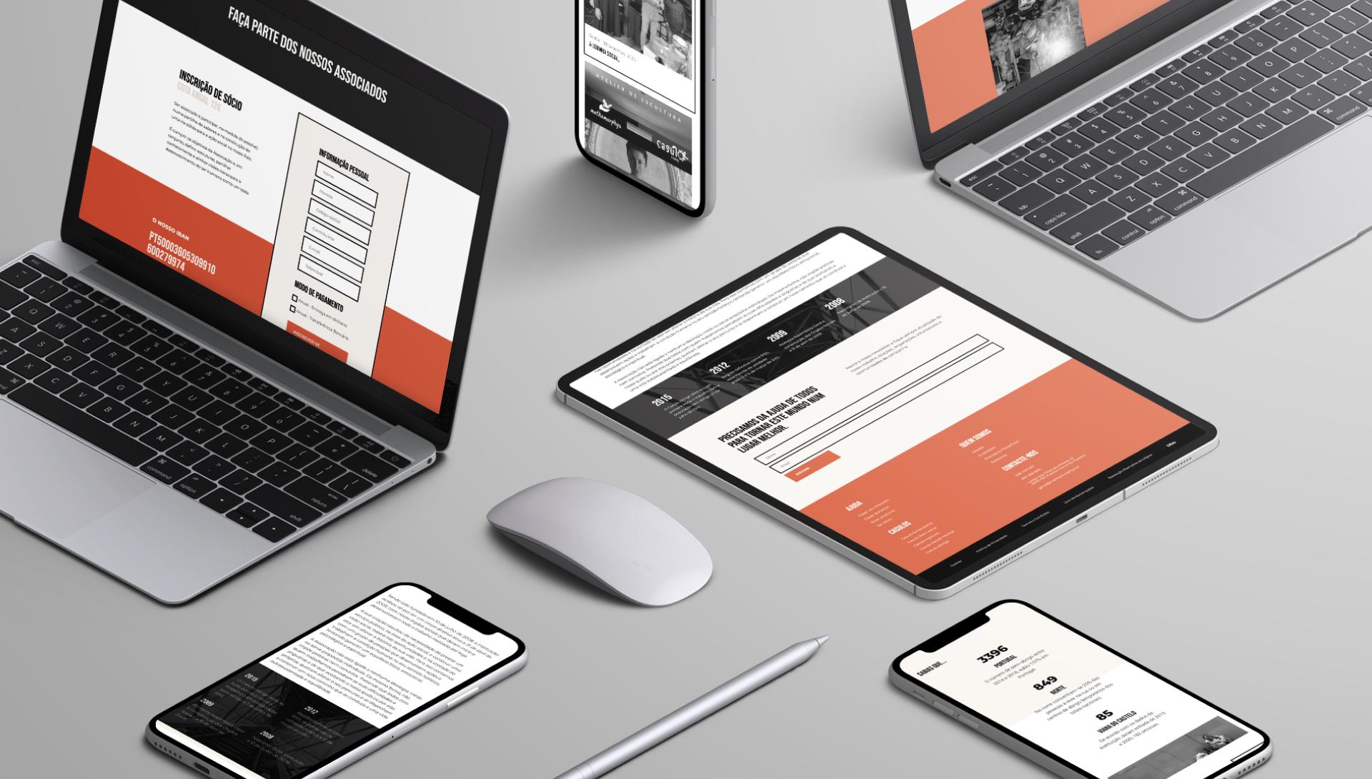 Website Methamorphys em vários dispositivos