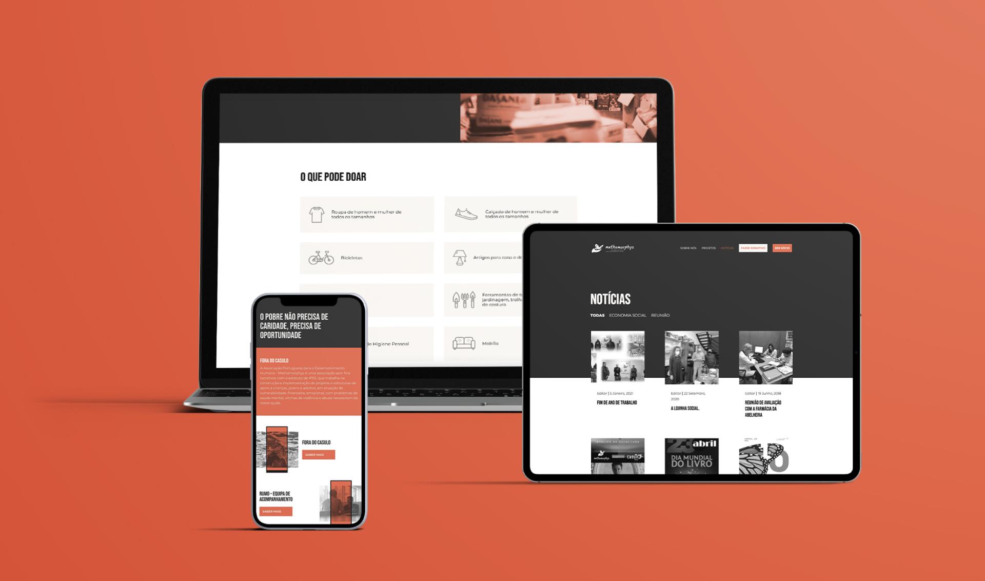 Páginas de website Methamorphys em telemóvel, computador portátil e tablet