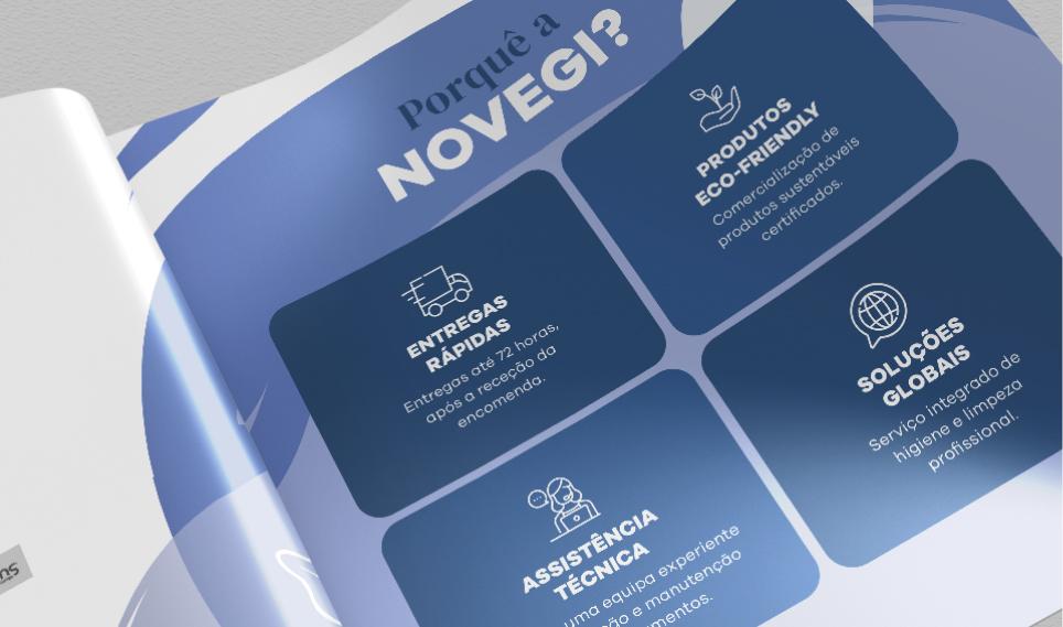 Página de vantagens em catálogo Novegi