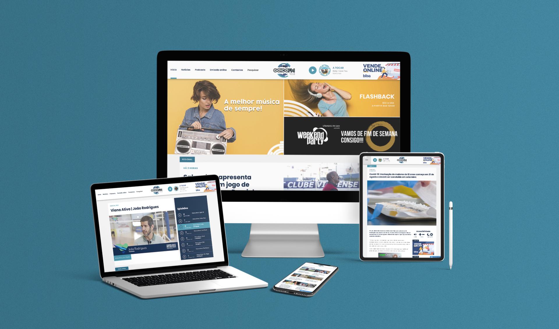 Website Radio Geice FM em computador, telemóvel e tablet