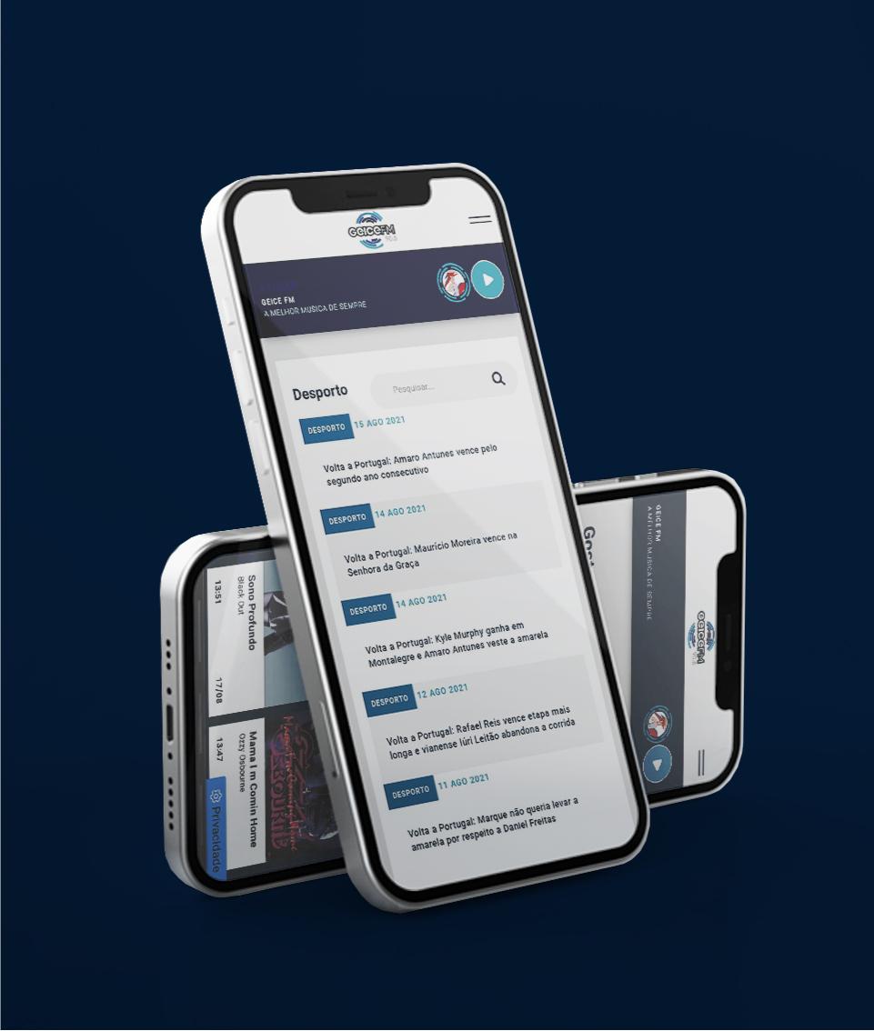 Website da Radio Geice FM em mobile