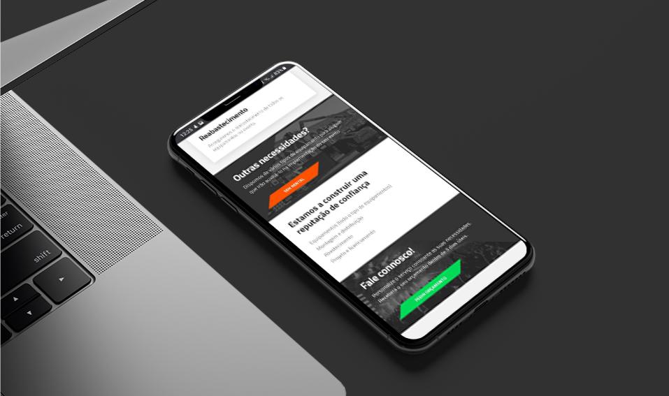 Página de website Sandokan em telemóvel