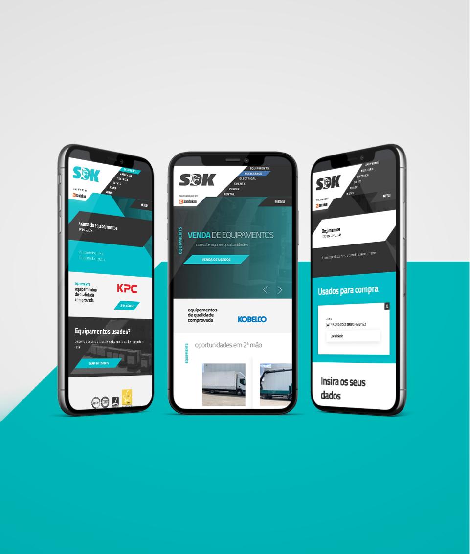 Website Sandokan em dispositivos mobile