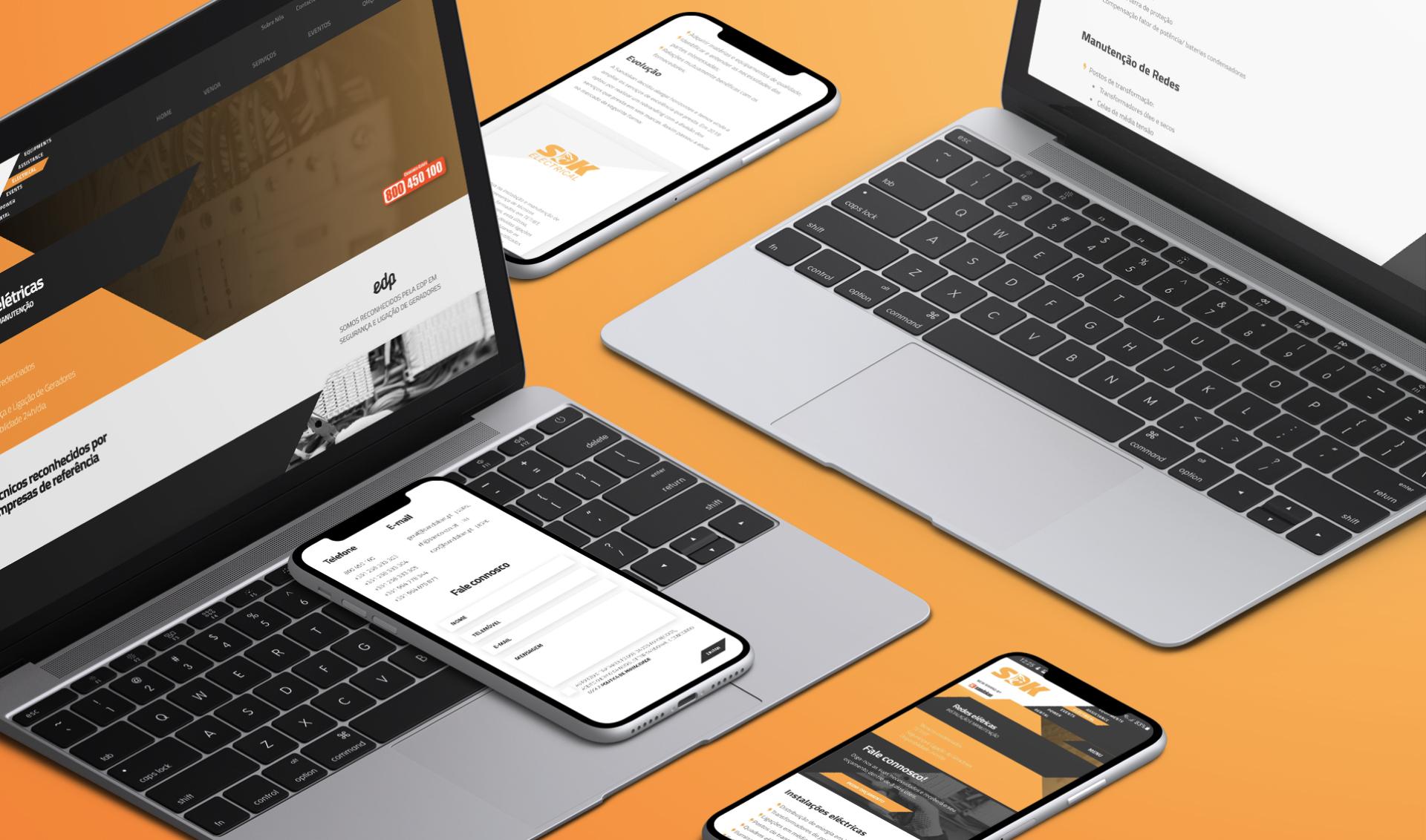 Várias páginas de website Sandokan em computador portátil e telemóvel